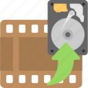 film, hard disk, hdd, reel, storage icon