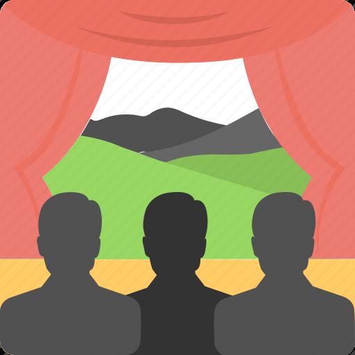 cinema, crowd, movie, stage, theater icon