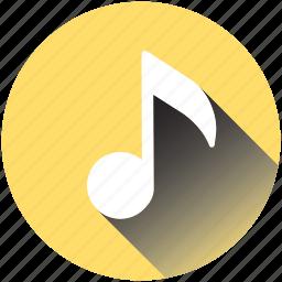 music, note, play, quarter, retro, sound, television icon