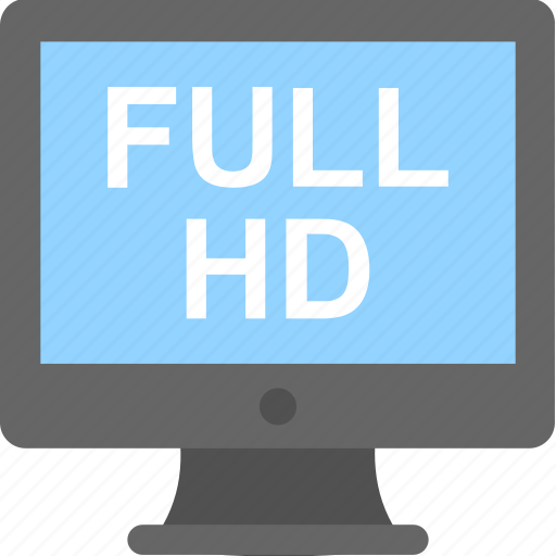 full hd, hd, high definition, monitor, screen icon