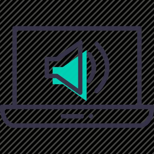 device, electronic, laptop, multimedia, music, sound icon