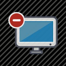computer, desktop, minus, monitor, remove, screen icon