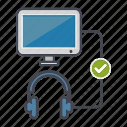 check, computer, desktop, headphones, monitor, screen icon