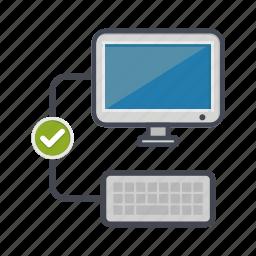 check, computer, desktop, keyboard, monitor, screen icon