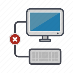 computer, denied, desktop, keyboard, monitor, screen icon