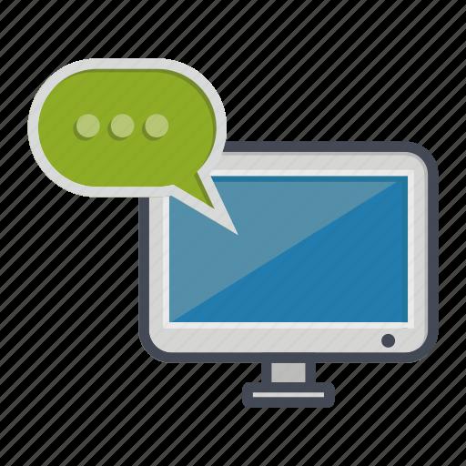 bubble, chat, comment, computer, desktop, monitor, screen icon