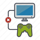 computer, controller, denied, desktop, joystick, monitor, screen icon