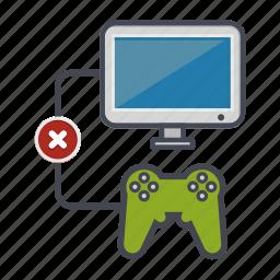 computer, controller, denied, desktop, joystick, monitor, screen icon