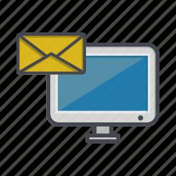 computer, desktop, message, monitor, screen icon