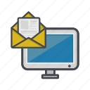 computer, desktop, letter, message, monitor icon