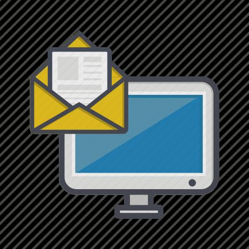computer, desktop, letter, message, monitor icon