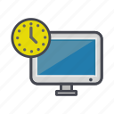 clock, computer, desktop, monitor, screen, timer icon