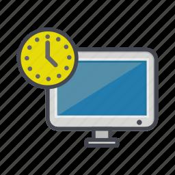 clock, computer, desktop, monitor, screen, timer icon