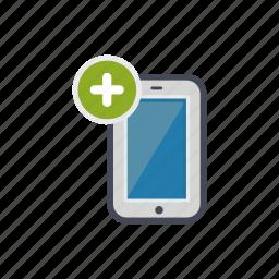 add, device, phone, plus, smartphone icon