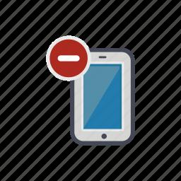 device, minus, phone, remove, smartphone icon
