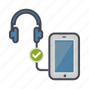 check, device, headphones, phone, smartphone icon