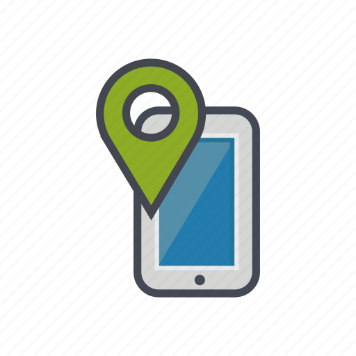 device, location, map, phone, pin, smartphone icon