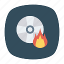 cd, disk, diskette, flame