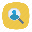 id, magnifier, search, user icon