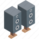 audio amplification, boombox speaker, loudspeakers, music, speaker, speaker box, woofer icon