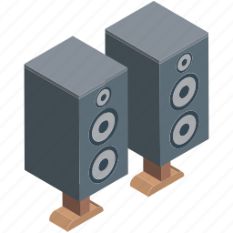 audio amplification, boombox speaker, loudspeakers, music, speaker, speaker box, woofer icon