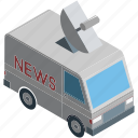 automobile, media, media van, news van, van icon