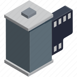 camera, camera reel, film, film reel, image reel, movie reel, reel box icon