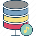 database, music database, music server, network server, server, server storage icon