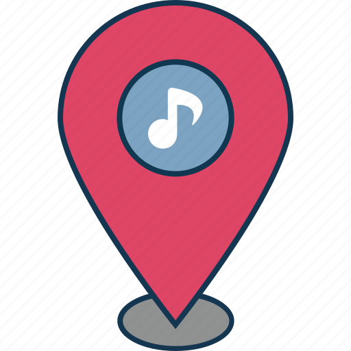 location, location marker, location pin, map pin, music location, navigation, note with pin icon