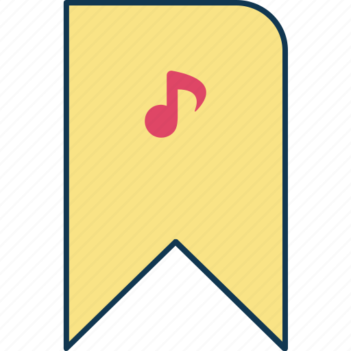 bookmark, bookmark music, education, favorite music, learning, ribbon icon