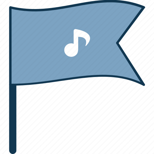 celebrate, flag, music flag, music note, note, songs icon