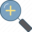 magnifier, plus sign, zoom, zoom in, zooming icon
