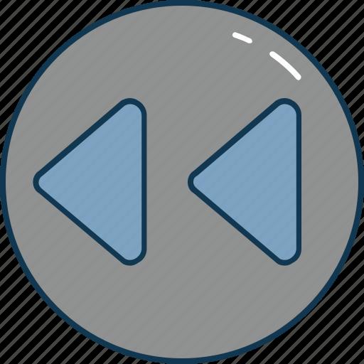 back, interface, media controls, media player, rewind button icon