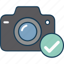 camera, camera with tick, digital camera, image captured, photography, picture icon