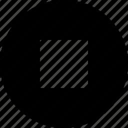 audio, circle, stop, video icon