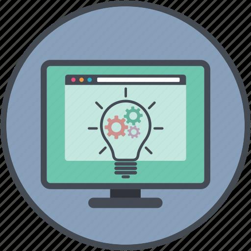 bulb, cogs, concept, development, idea icon