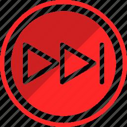 fast, forward, next, sound icon