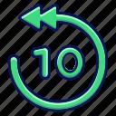 seconds, arrow, ui, back, multimedia icon