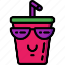 cool, drink, fast food, happy, milkshake, smiley, sunglasses icon