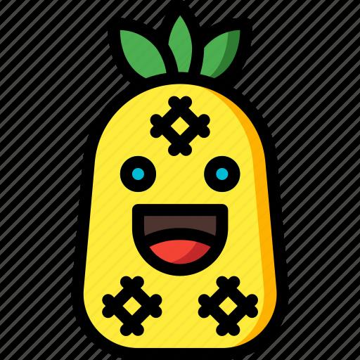 fruit, happy, pineapple, smiley, summer icon