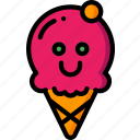 cream, happy, hot, ice, scoop, smiley, summer icon