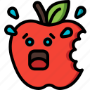 apple, bite, bitten, fruit, scared, shocked icon