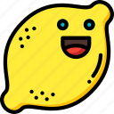 citrus, fruit, happy, lemon, smiley, sour icon