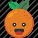 citrus, fruit, happy, orange, smiley, summer icon