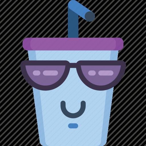 cool, drink, fast food, happy, milkshake, smiley, sunglasses icon