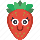 berry, fruit, happy, smiley, strawberry, summer icon
