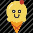 cream, happy, hot, ice, scoop, smiley, summer icon