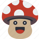 fungi, happy, mushroom, smiley, toadstool icon