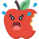 apple, bite, bitten, fruit, scared, shocked icon