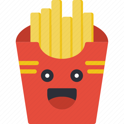 chips, fast food, fries, happy smiley, junk food, potato icon